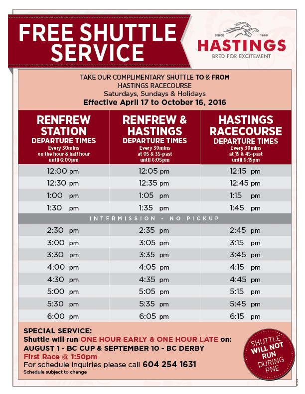 2016 Hastings Shuttle Schedule